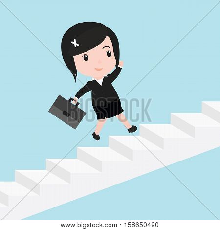 Business Woman With She Is Running Up Stairs