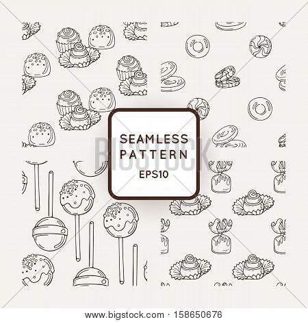 Set of Vector Candy and Bows Seamless Patterns. Sweet Party Texture. Buns and jelly beans.