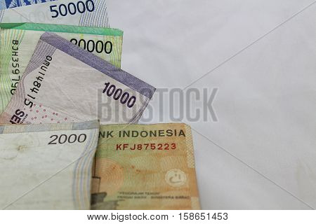 macro close up crumpled rupiah indonesia money detail