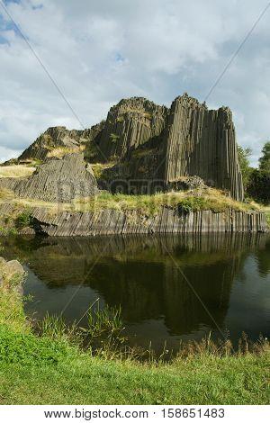Basalt organ pipes Panska Skala - national natural monument near Kamenicky Senov in the Czech Republic.