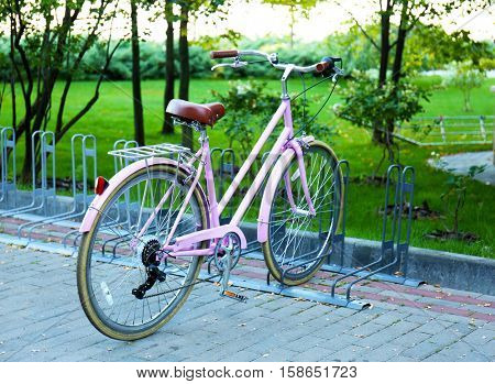 Bicycle at parking place outside