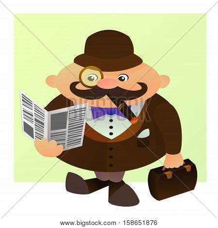 Cute cartoon illustration of a typical englishman. Vector character. A man with a cigarette a paper and a suitcase.