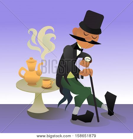 Cute cartoon illustration of a typical englishman. Waiting for traditional five o'clock tea. Vector character.