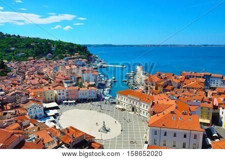 Town square in Piran town in Slovenia