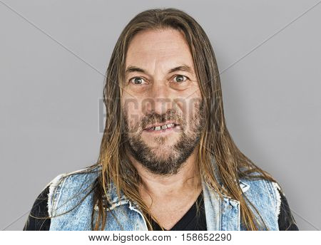 Man Long Hair Hairstyle Smiling Sneer Portrait Concept