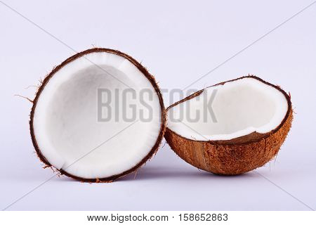 fresh coconut half clipping path for white coconut milk  on white background fruit food isolated