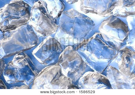 macro of ice cubes in a blue bin poster