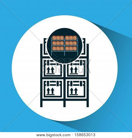 warehouse boxes on racks icon vector illustration eps 10