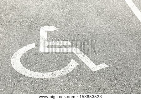 Marked parking for people with special needs