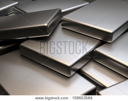 Metal plates of rare earth magnets 3D rendering