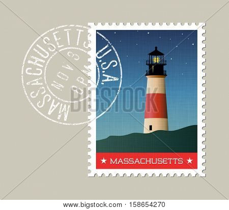 Massachusetts postage stamp design. Vector illustration of lighthouse, night sky and stars. grunge postmark on separate layer