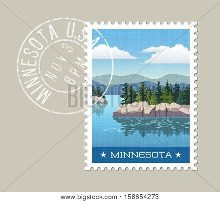 Minnesota postage stamp design. Vector illustration of scenic lake and forest with grunge postmark on separate layer