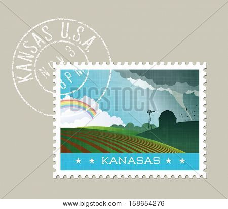 Kansas postage stamp design. Vector illustration of scenic landscape with grunge postmark on separate layer