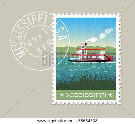 Mississippi postage stamp design. Vector illustration of steamship paddle boat on the river. Grunge postmark on separate layer