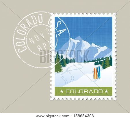 Colorado postage stamp design. Detailed vector illustration of rocky mountains with grunge postmark on separate layer