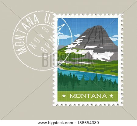 Montana, postage stamp design.  Vector illustration of snowy mountain and forest. Grunge postmark on separate layer