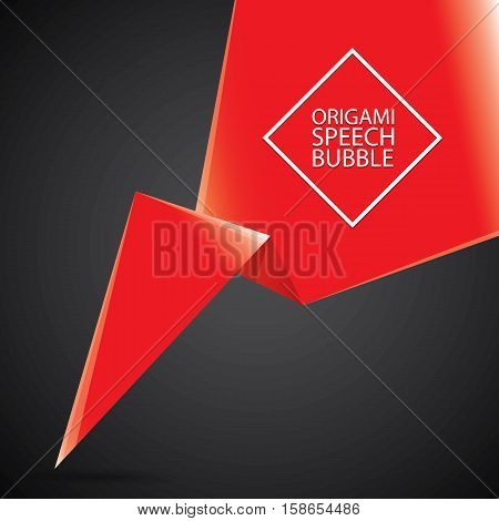 Abstract glossy paper red christmas origami speech bubble on black. Vector abstract creative red background for greeting text. vector black friday red sale label or banner
