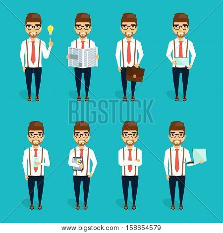 The concept of the character of the young businessman. Set businessman characters.