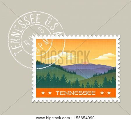 Tennessee postage stamp design.  Vector illustration of smoky mountains.  Grunge postmark on separate layer