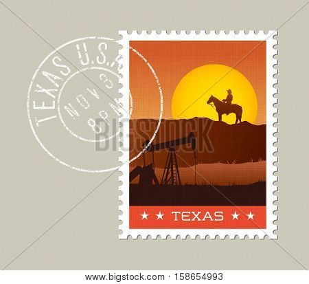 Texas postage stamp design.  Vector illustration of scenic landscape. Grunge postmark on separate layer