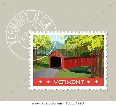 Vermont postage stamp design. Vector illustration of scenic covered bridge over stream. Grunge postmark on separate layer