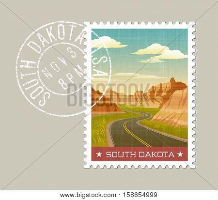 South Dakota, postage stamp design.  Vector illustration of scenic Badlands. Grunge postmark on separate layer