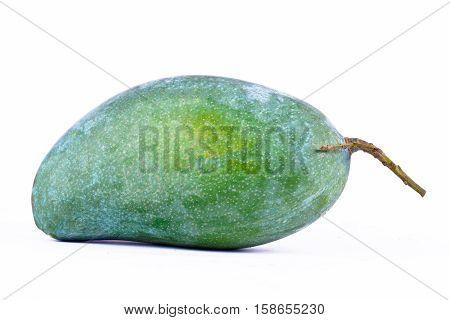 organic fresh green mango on white background healthy fruit food isolated close up