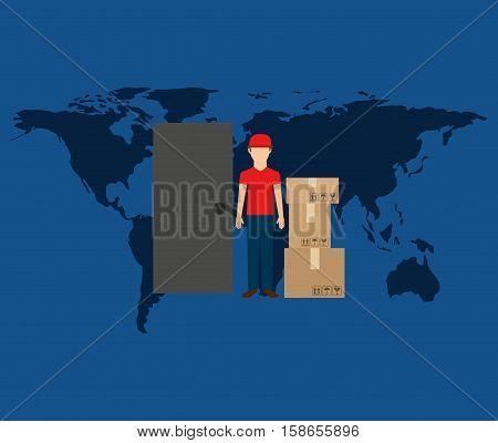 globe world man postal delivery box vector illustration eps 10
