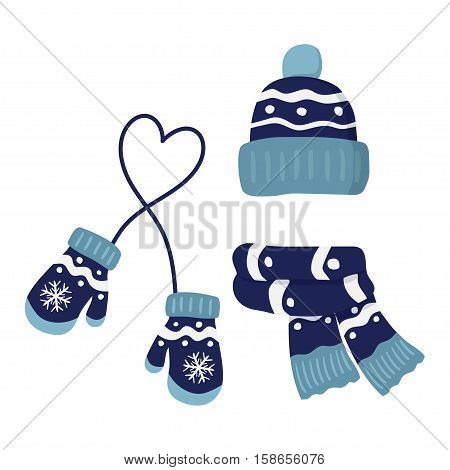 winter knitted mittens beanie hat with pom pom and scar set in blue color vector illustration