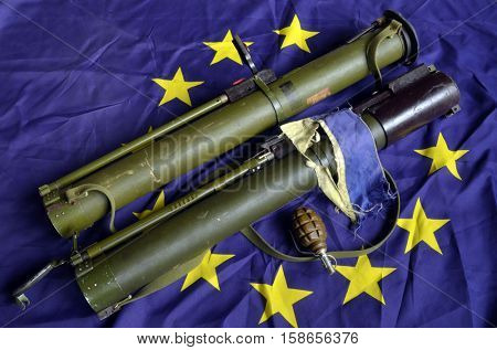 EU and Ukraine Flag with Soviet  rocket-propelled grenade launcher