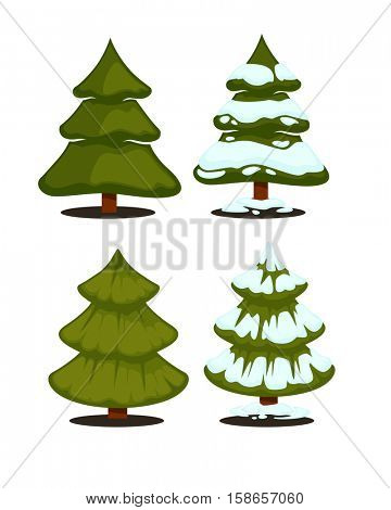 Christmas tree Set of christmas green trees. Winter christmas tree holiday design elements: xmas fir with snow. Christmas tree Cartoon style. Isolated vector.