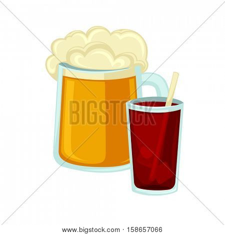 Big mug of beer with foam and glass of cola with straw. Icon of carbonated drink and alcohol beverage. Fast junk food isolated vector illustration on white background.