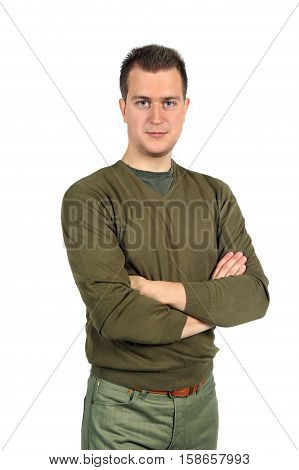 Handsome caucasian man a gesture of crossed hands on a breast isolated on white background