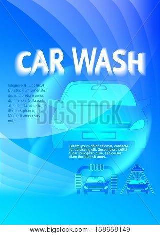 Car wash blue light background with icons design elements. Modern business presentation template for car-wash cover brochure. Abstract vector illustration eps 10 can be for flyer layout web banner