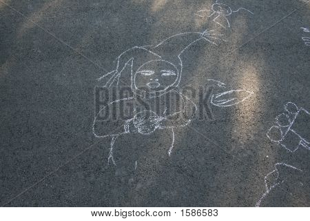 Chalk Drawing Of A Baby Girl