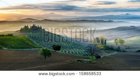 Early morning in San Quirico d´Orcia Tuscany