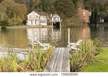 An image of an area to relax and enjoy the river at Henley on Thames Oxfordshire England UK
