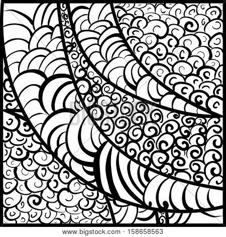 hand-drawn monochrome vector illustration of a monochrome abstract vitrage background