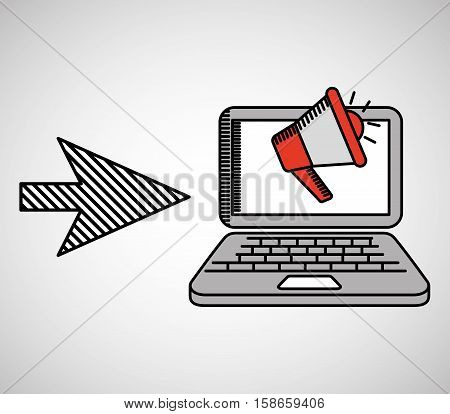 next arrow computer megaphone media vector illustration eps 10