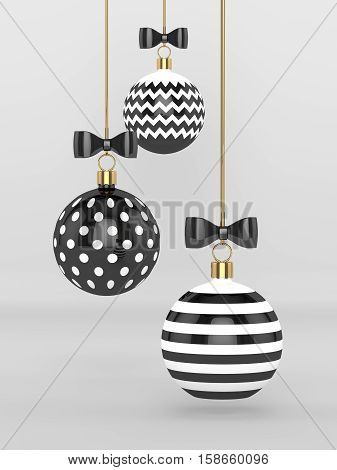 3D Rendering Of Christmas Baubles Over Gray Background