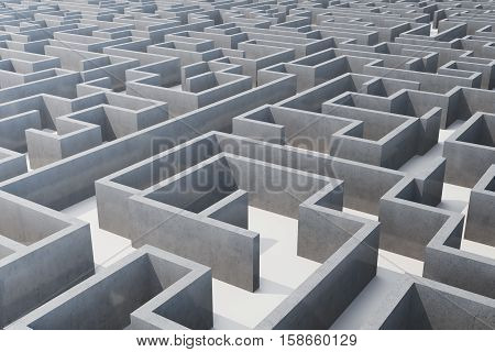 3d illustration cocrete labyrinth, complex problem solving concept.