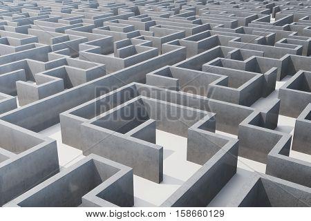 3d illustration cocrete labyrinth, complex problem solving concept.
