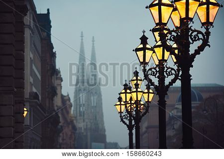 Street lamps and Votive Church during chilly autumn evening in Vienna Austria - selective focus