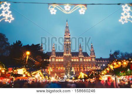 Rathaus (city hall) and christmas market in Vienna Austria - tilt shift