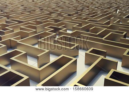 3d illustration gold labyrinth, complex problem solving concept