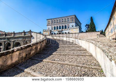The Villa Farnese (in italian Palazzo Farnese) a mansion in the town of Caprarola near Viterbo Northern Lazio Italy