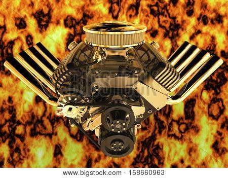 Hot rod V8 engine, the fiery background, 3D render