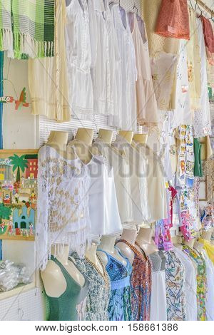 NATAL, BRAZIL, JANAURY - 2016 - Interior scene traditional clothes on sell at touristic store located in Natal Brazil