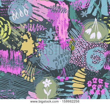 Seamless pattern with hand drawn abstract ink texture and floral nature motif. Colorful endless vector background.