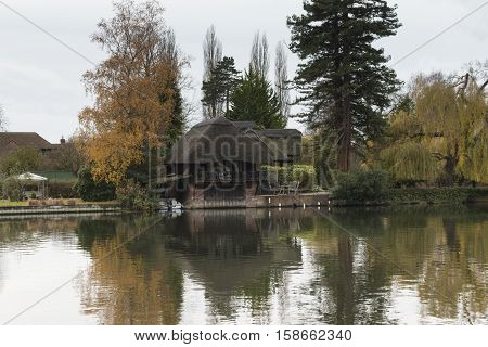 An image of a house overlooking the river at Henley on Thames Oxfordshire England UK